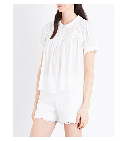 CLAUDIE PIERLOT Corso embroidered-detail crepe shirt (Ecru
