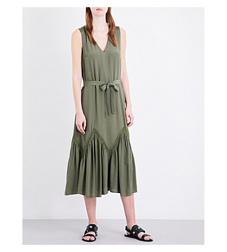 CLAUDIE PIERLOT Rotary crepe midi dress (Kaki