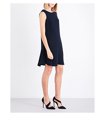 CLAUDIE PIERLOT Button-detail flared-hem crepe dress (Marine