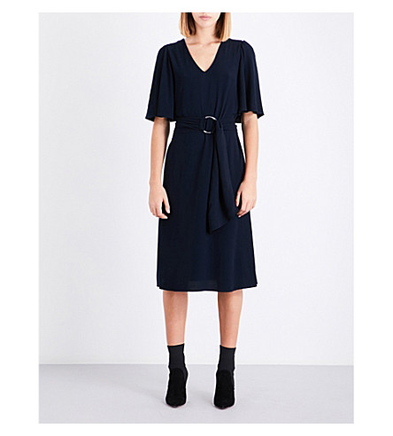 CLAUDIE PIERLOT Self-tie flared-sleeve crepe dress (Marine