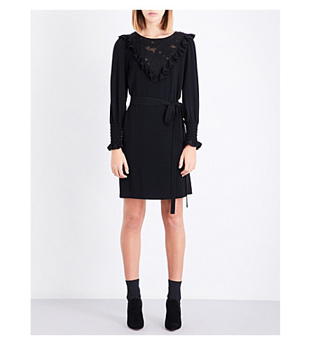 CLAUDIE PIERLOT Devoré-panel crepe dress (Noir