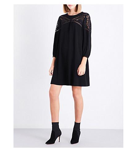 CLAUDIE PIERLOT Puff-sleeve crepe dress (Noir