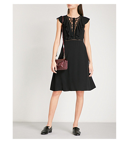CLAUDIE PIERLOT Ruffled floral lace and crepe dress (Noir