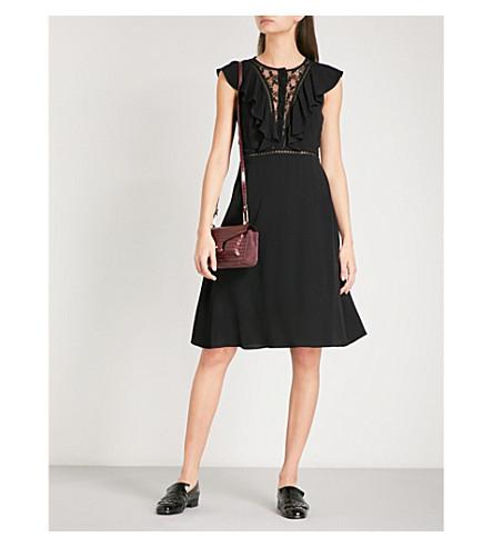 CLAUDIE PIERLOT 竖起花卉蕾丝和绉连衣裙 (黑色