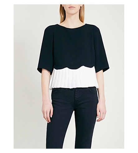 CLAUDIE PIERLOT Pleated crepe top (Blue