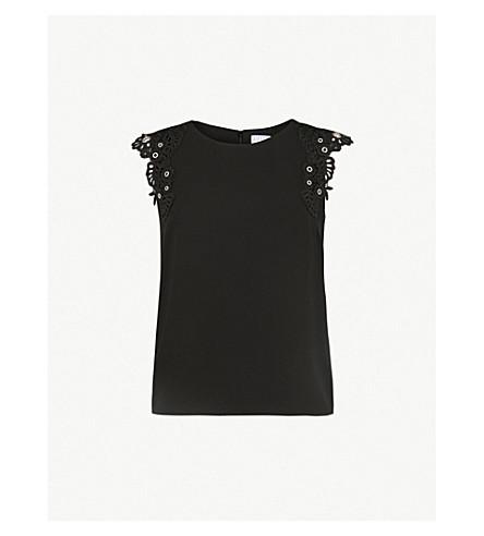 CLAUDIE PIERLOT Embroidered-sleeve crepe top (Black