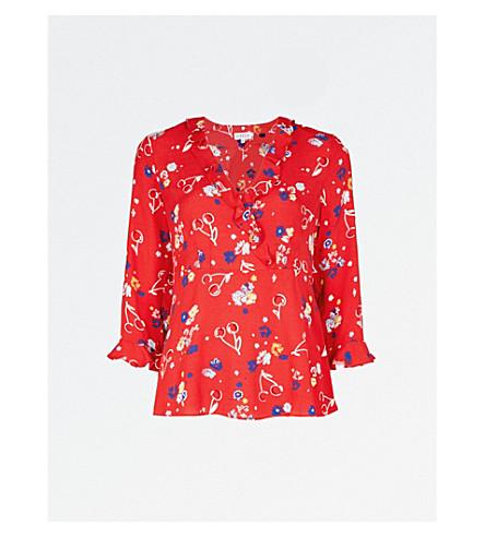 CLAUDIE PIERLOT Barneto floral-print crepe blouse (Red
