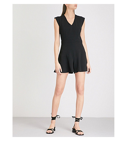 CLAUDIE PIERLOT V 颈绉 playsuit (黑色