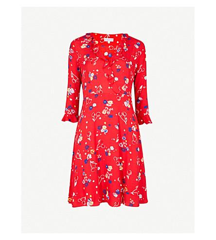 CLAUDIE PIERLOT Reflect floral-print crepe dress (Red