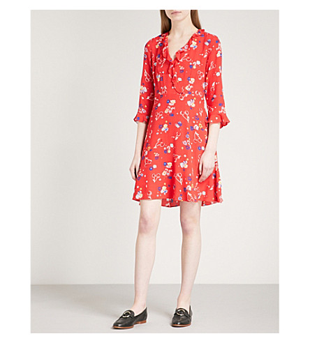 CLAUDIE PIERLOT Reflect floral-print crepe dress (Red