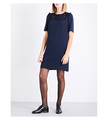 CLAUDIE PIERLOT Lace-panel crepe dress (Petrol