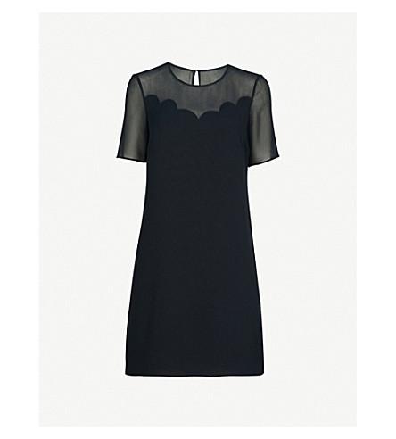 CLAUDIE PIERLOT Scalloped trim crepe dress (Blue