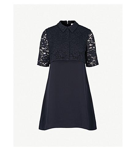 CLAUDIE PIERLOT Floral lace-panel crepe mini dress (Marine