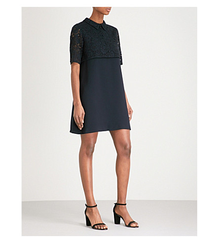 CLAUDIE PIERLOT Floral lace-panel crepe mini dress (Marine
