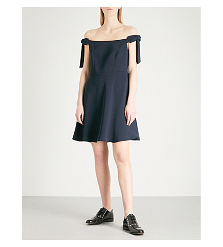 CLAUDIE PIERLOT Rio off-the-shoulder crepe mini dress (Blue