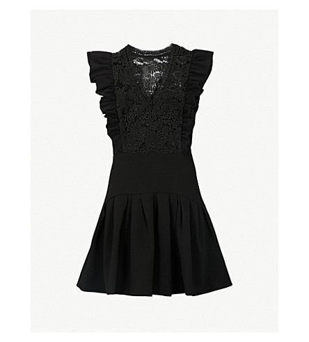 CLAUDIE PIERLOT Lace-embroidered fit-and-flare crepe mini dress (Black
