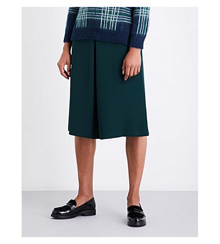 CLAUDIE PIERLOT High-rise A-line crepe skirt (Vert+sapin