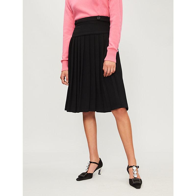 Suzanne Pleated crepe skirt