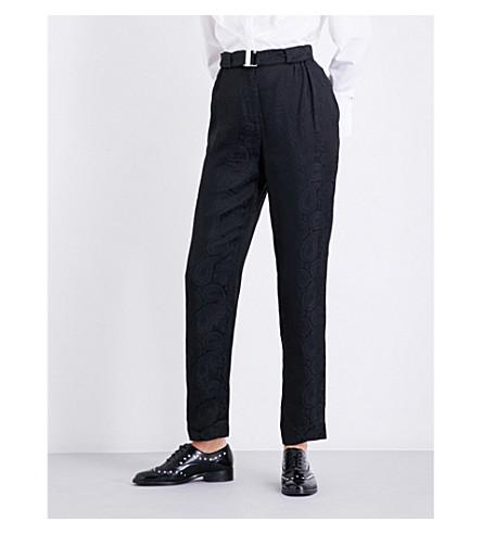 CLAUDIE PIERLOT Paisley-pattern straight high-rise satin-jacquard trousers (Noir