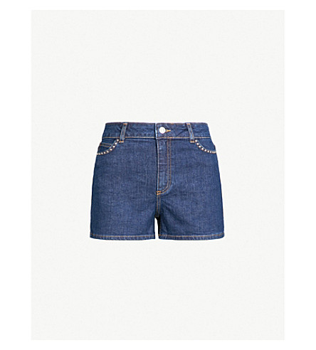 CLAUDIE PIERLOT 镶嵌细节弹力牛仔布短裤 (蓝色