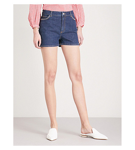CLAUDIE PIERLOT Studded-detail stretch-denim shorts (Blue