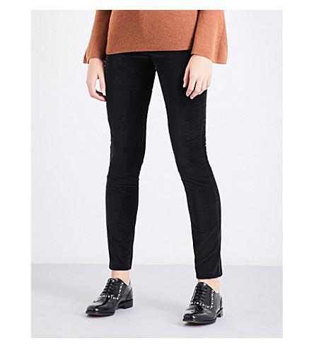 CLAUDIE PIERLOT Velvet skinny high-rise jeans (Noir