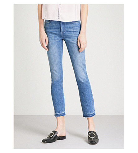 CLAUDIE PIERLOT Released-hem cropped skinny mid-rise jeans (Blue