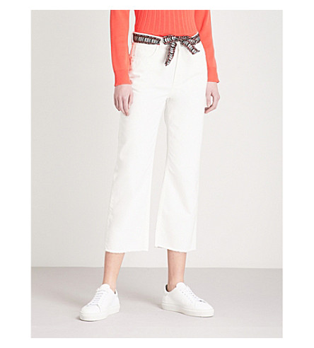 CLAUDIE PIERLOT Woven-belt cropped high-rise jeans (Cream