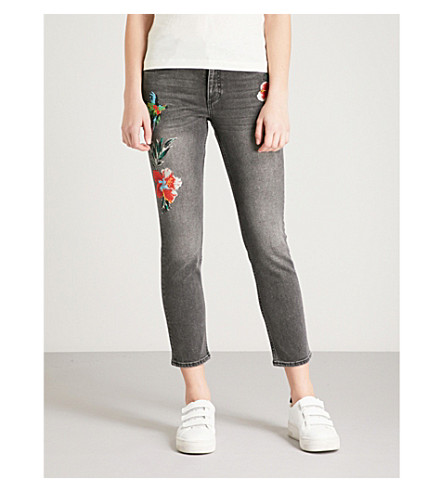 CLAUDIE PIERLOT Bird and floral-embroidered skinny mid-rise jeans (Grey