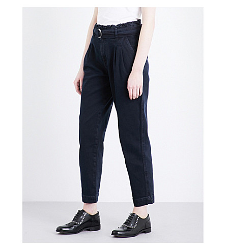 CLAUDIE PIERLOT Belted tapered high-rise jeans (Marine