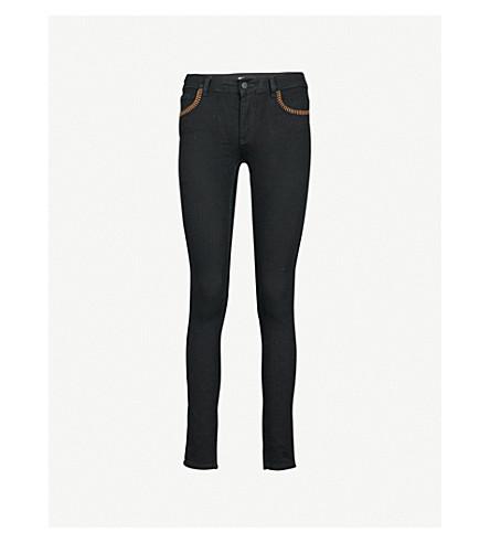 CLAUDIE PIERLOT Contrast-trim skinny high-rise jeans (Black