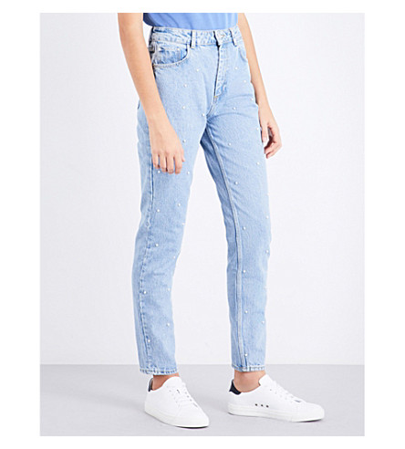 CLAUDIE PIERLOT Bead-embellished tapered high-rise jeans (Jean