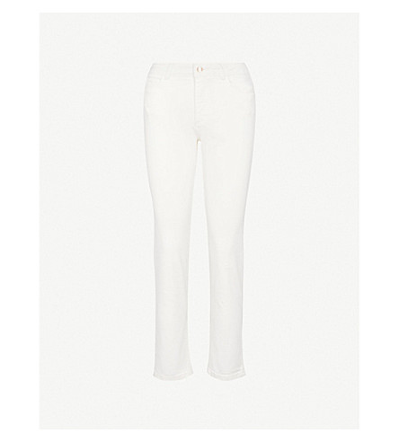 CLAUDIE PIERLOT Straight cropped mid-rise jeans (Cream