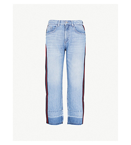 CLAUDIE PIERLOT Player side-stripe flared high-rise jeans (Jean