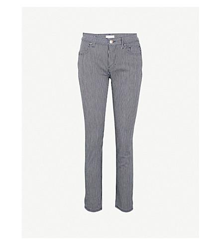 CLAUDIE PIERLOT 条纹紧身中腰牛仔裤 (蓝色