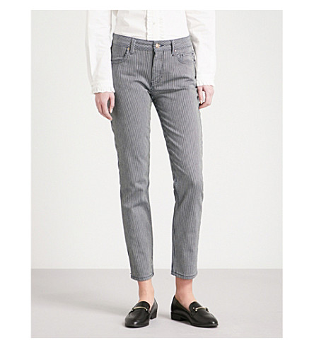 CLAUDIE PIERLOT Striped skinny mid-rise jeans (Blue