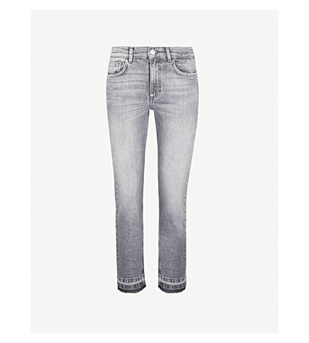 CLAUDIE PIERLOT Passiflore 发布下摆紧身中腰弹力牛仔布牛仔裤 (灰色