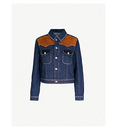 CLAUDIE PIERLOT Suede-trimmed stretch-denim jacket (Blue