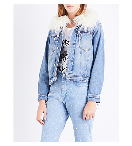 CLAUDIE PIERLOT Faux-fur collar denim jacket (Jean