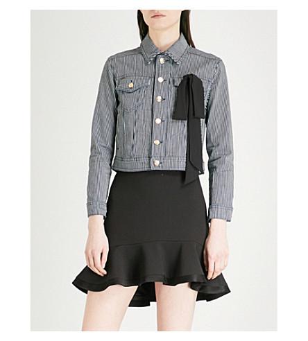 CLAUDIE PIERLOT Bow-detail striped stretch-cotton jacket (Blue