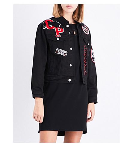 CLAUDIE PIERLOT Embroidered badge-detail stretch-denim jacket (Noir