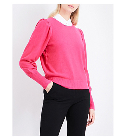 CLAUDIE PIERLOT Mathys detachable-collar knitted jumper (Fushia
