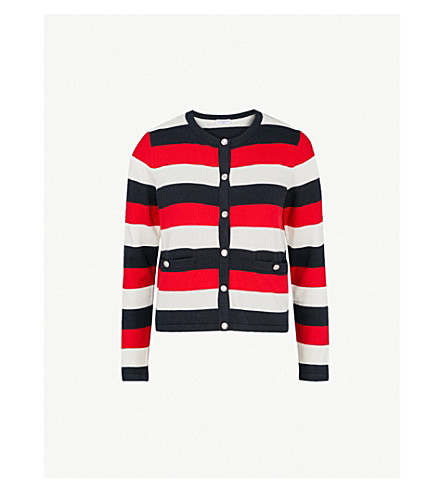 CLAUDIE PIERLOT Striped-pattern knitted cotton-blend cardigan (Multico