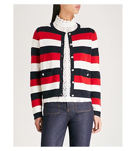 CLAUDIE PIERLOT 条纹型针织棉混纺开襟衫 (Multico
