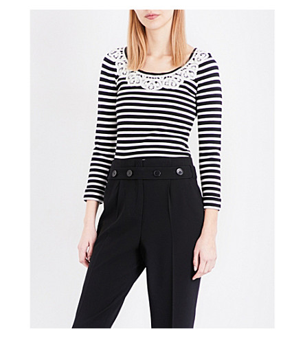 CLAUDIE PIERLOT Mariniere striped knitted jumper (Noir