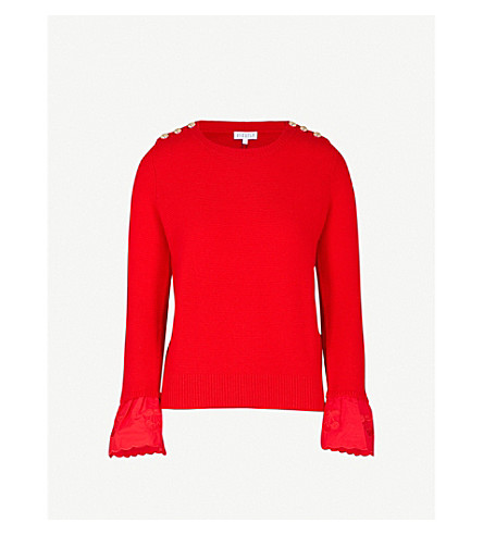 CLAUDIE PIERLOT Marsyas wool and cashmere-blend jumper (Red