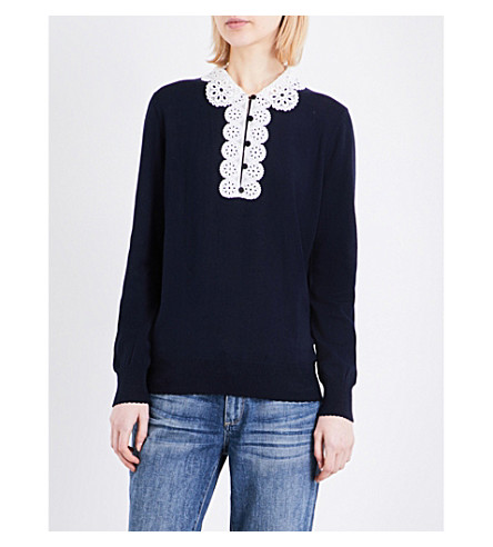 CLAUDIE PIERLOT Martine lace-collar knitted jumper (Marine