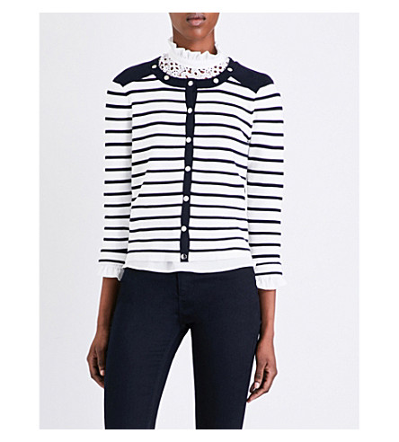 CLAUDIE PIERLOT Martin striped cotton cardigan (Ecru