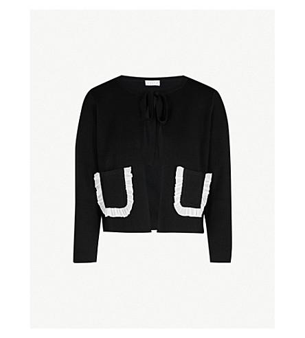CLAUDIE PIERLOT 折边修剪羊毛混纺开襟衫 (黑色