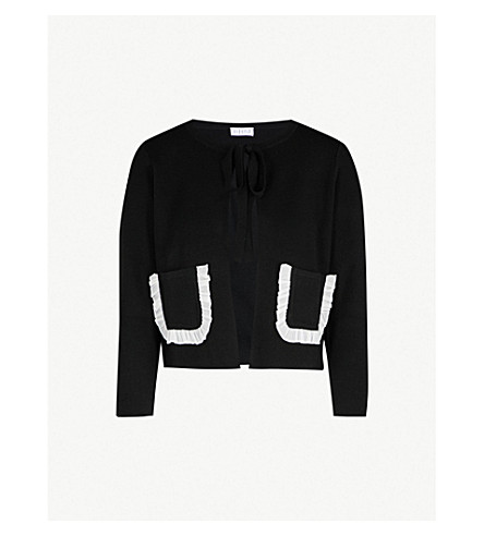 CLAUDIE PIERLOT Frilled-trim wool-blend cardigan (Black